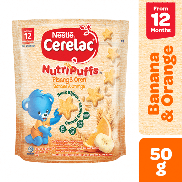Nestle Cerelac NutriPuffs Banana & Orange Pouch 50gms