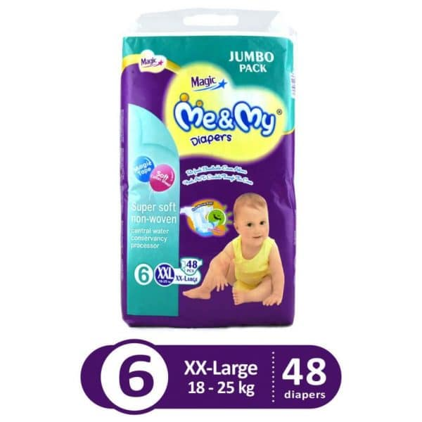 ME & MY MAGIC DIAPERS JUMBO PACK X-LARGE 56PCS (GET 1 WIPES PACK FREE)