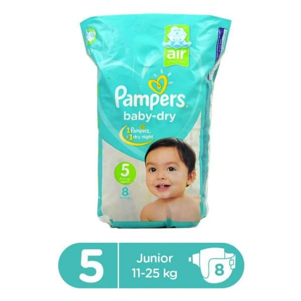 PAMPERS CARRY PACK BABY DRY DIAPERS JUNIOR SIZE 5 (8 COUNT)