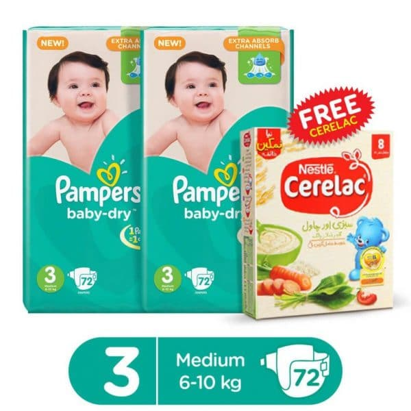 PAMPERS PACK OF 2 MEGA PACK BABY DRY DIAPERS MEDIUM SIZE 3 (72 COUNT) + 1 FREE CERELAC SAVORY 175GMS