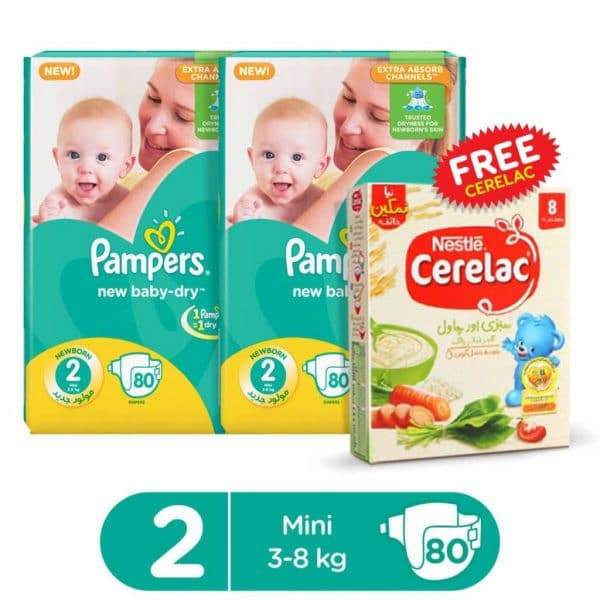 PAMPERS PACK OF 2 MEGA PACK BABY DRY DIAPERS SMALL SIZE 2 (80 COUNT) + 1 FREE CERELAC SAVORY 175GMS