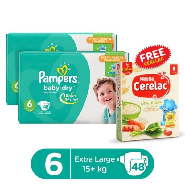 PAMPERS PACK OF 2 MEGA PACK BABY DRY DIAPERS XX LARGE SIZE 6 (48 COUNT) + 1 FREE CERELAC SAVORY 175GMS