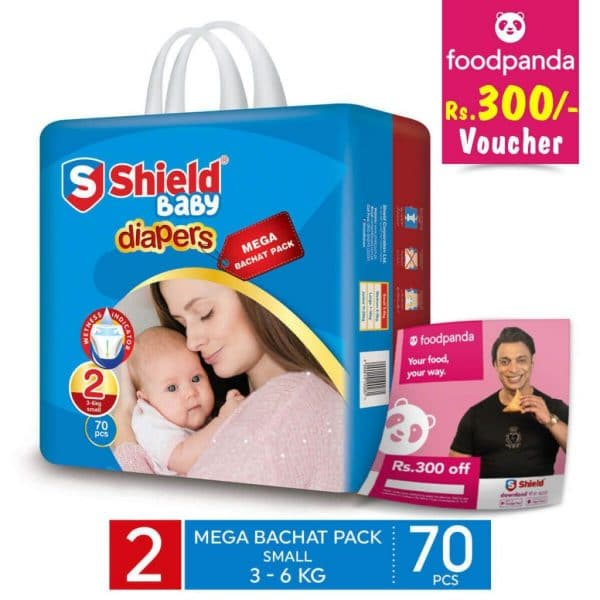 SHIELD DIAPER MEGA BACHAT SMALL 70PCS (GET A FREE FOODPANDA RS.300 VOUCHER)