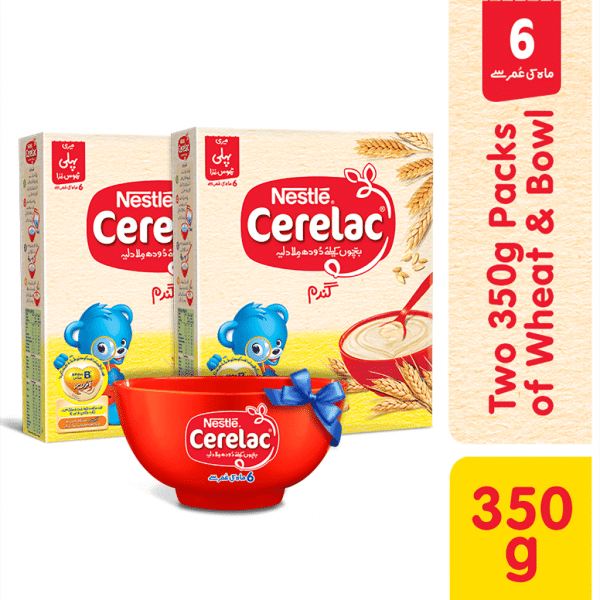 NESTLE CERELAC (WHEAT) TWO 350GMS PACKS WITH BOWL